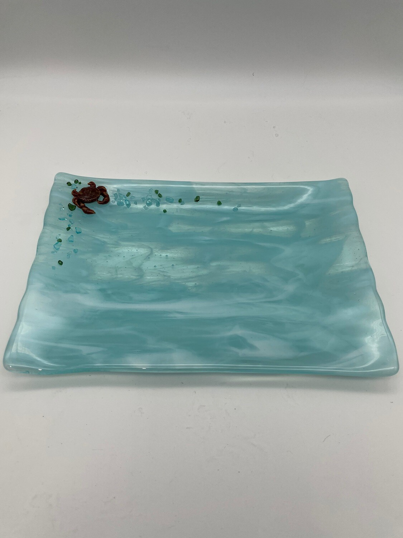 Turquoise Streaky Rectangle Tray