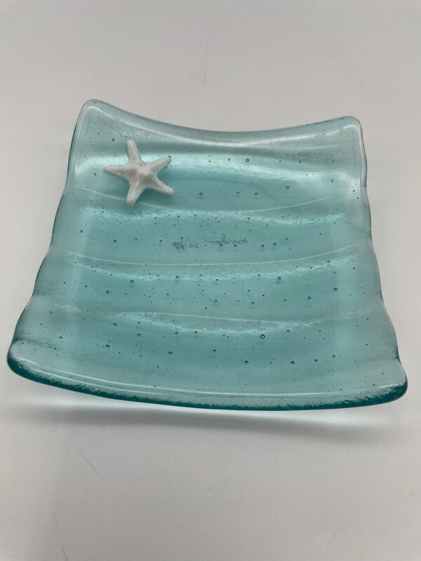 Tint Blue Small Dish with White Starfish