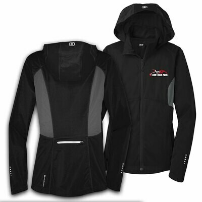 Ladies Ogio Endurance Pivot  Soft Shell Jacket - Blacktop/Gear Grey
