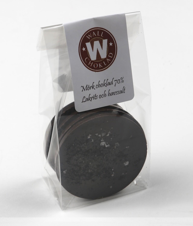 Mörk choklad med lakritsoch havssalt