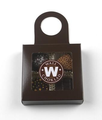 Flask-ask med 4 praliner, brun