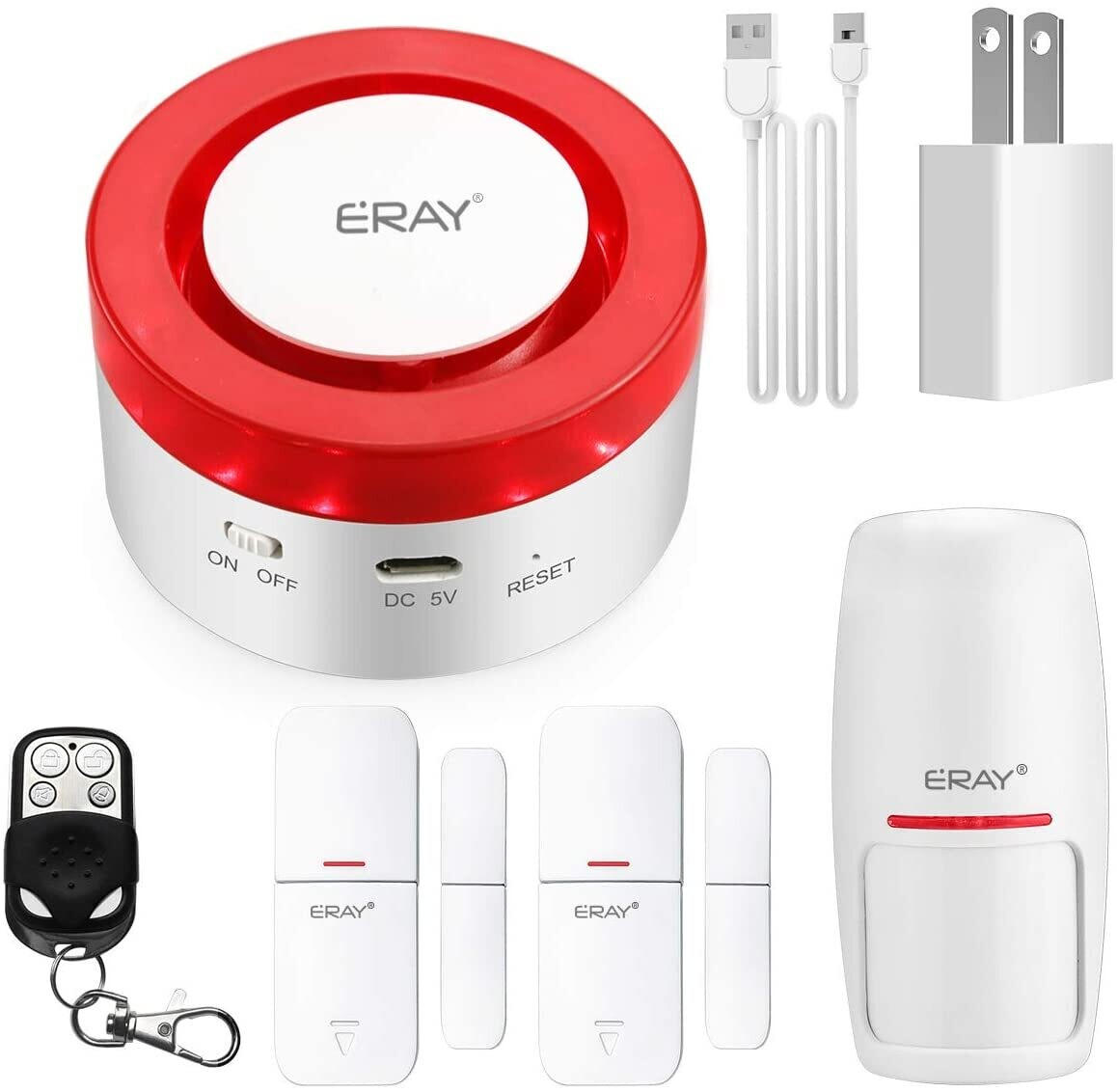 TUYA Smart Home Security Alarm Siren System, ERAY T1 Wireless WiFi Burglar Siren Alarms, Compatible with Alexa and Google Assistant/APP Alarm Push/Custom-Named/Timing Setting.