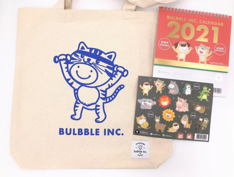 Bulbble Inc. Tote Bag & 2021 Calendar Combo Set