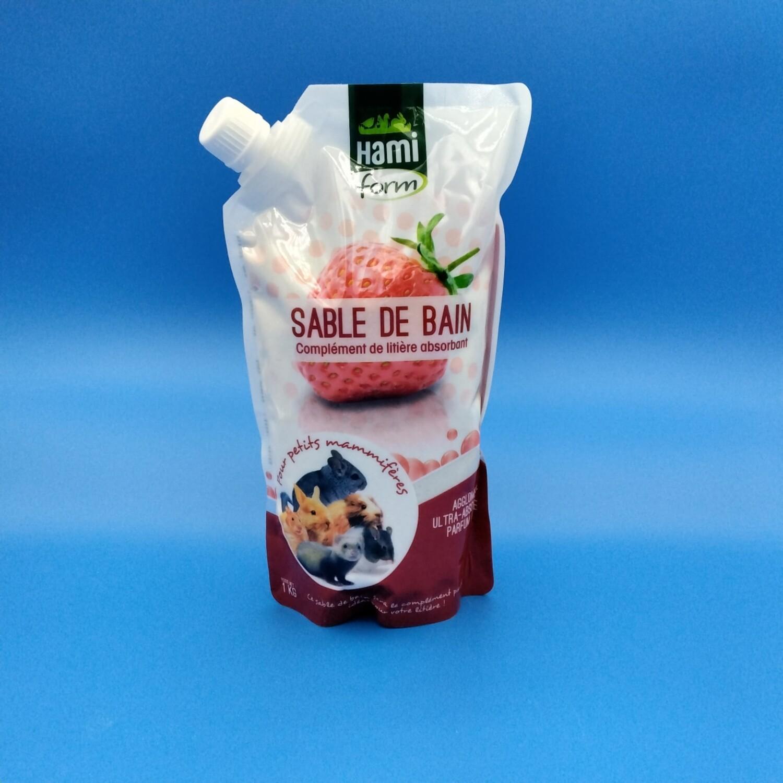 Sable de bain fraise