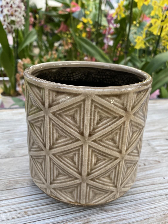 Cache-pot céramique brun diamètre 12,5 H 13 cm