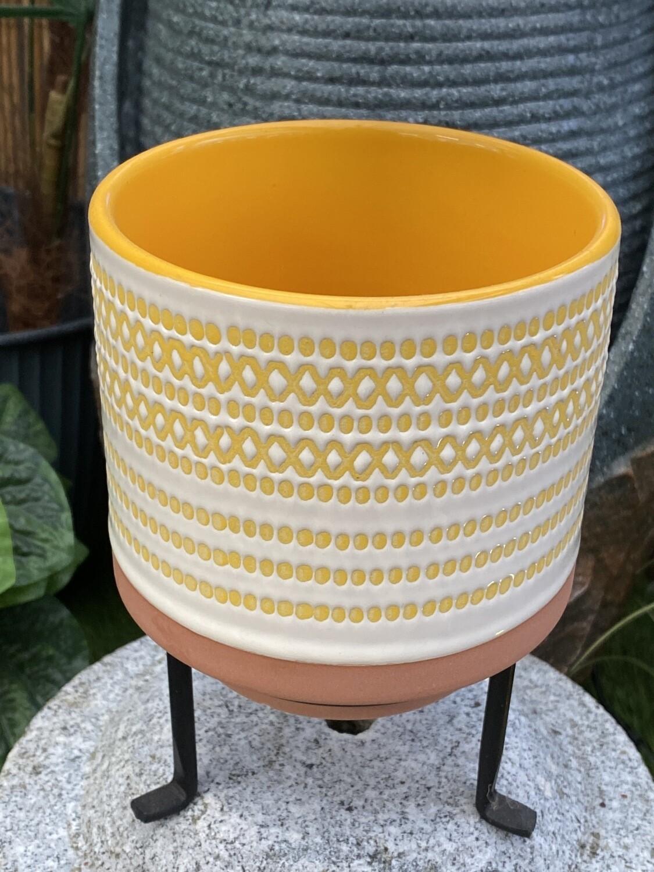 Cache-pot céramique avec support diamètre 11  H 11,5 cm