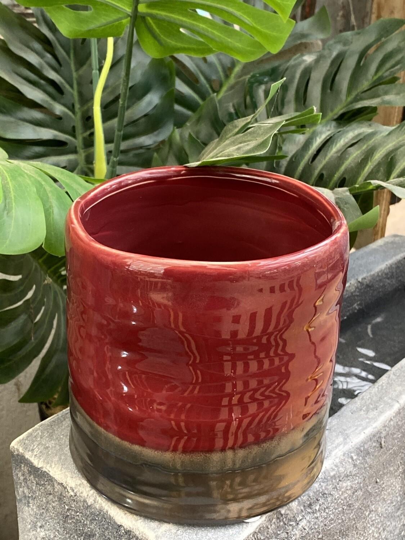 Cache-pot céramique diamètre 13,2 rouge