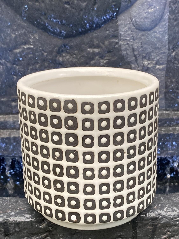 Cache-pot céramique blanc et noir diamètre 12,3 grand H 12,2 cm