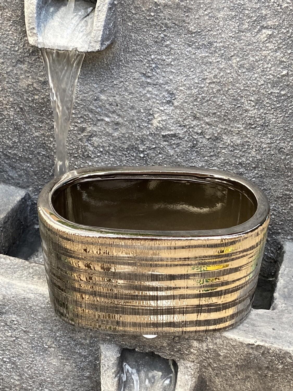 Coupe ovale céramique 14 × 8 argent et noir