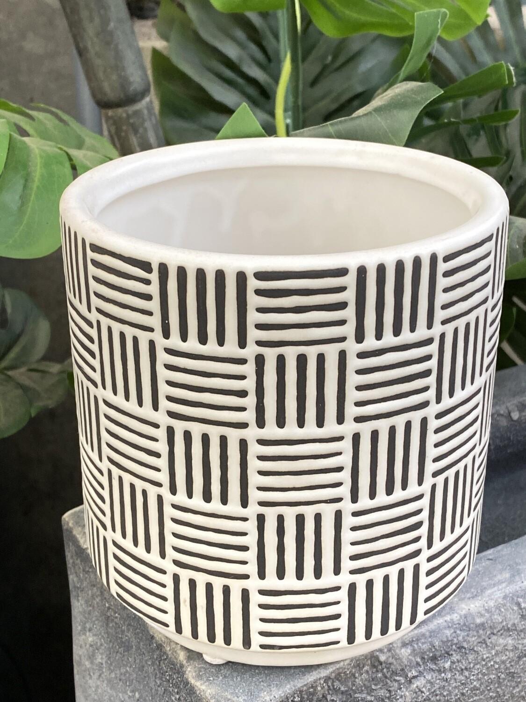 Cache-pot céramique blanc et noir diamètre 14,5 grand H 15 cm
