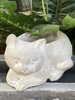 Pot chat ciment jardin antique Mathilde M