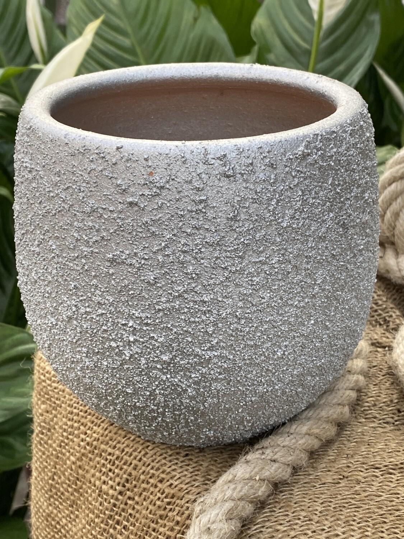 Cache-pot Ø 14 cm H 13,5 cm céramique argent