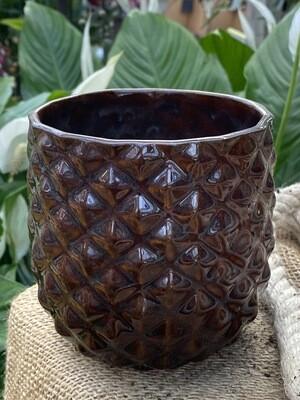 Cache-pot diamètre 12 cm H 12 cm céramique couleur brun
