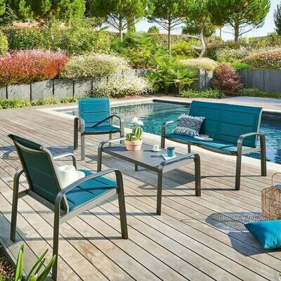 Salon de jardin Elyn Bleu canard & Graphite