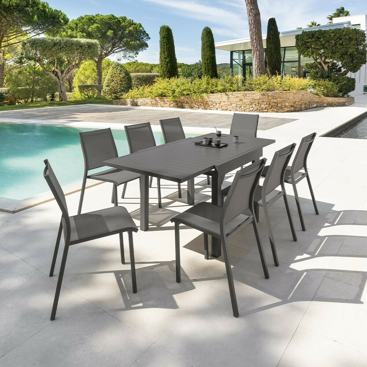 Table de jardin extensible Piazza Gris quartz