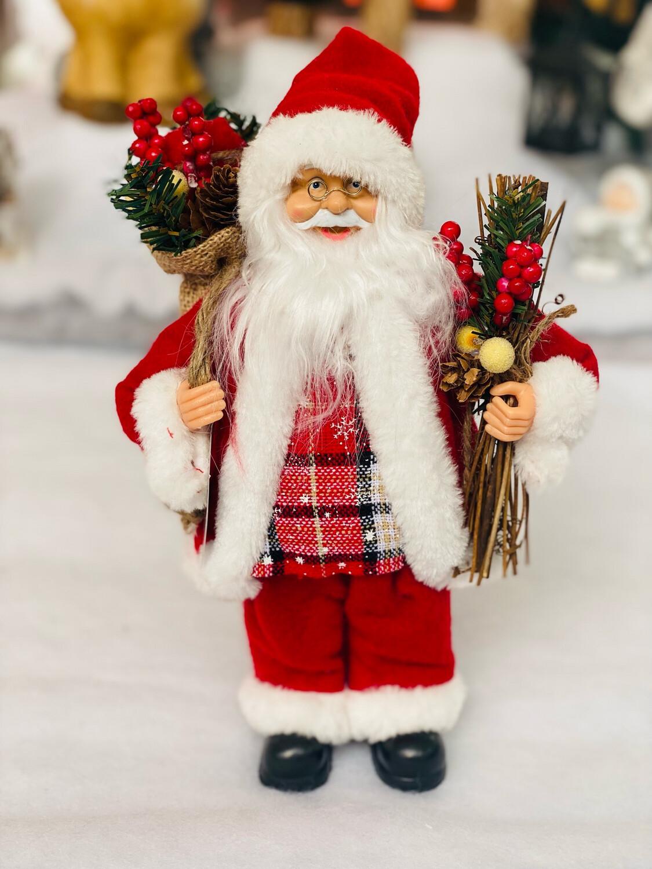 Père Noël polyester sac à dos H30cm
