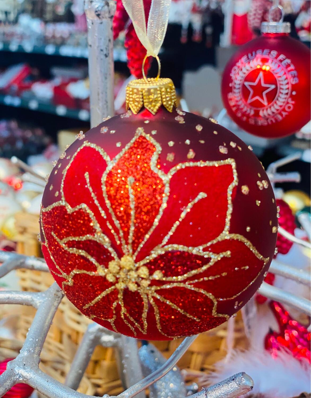 Boule de Noël avec fleur 80 mm