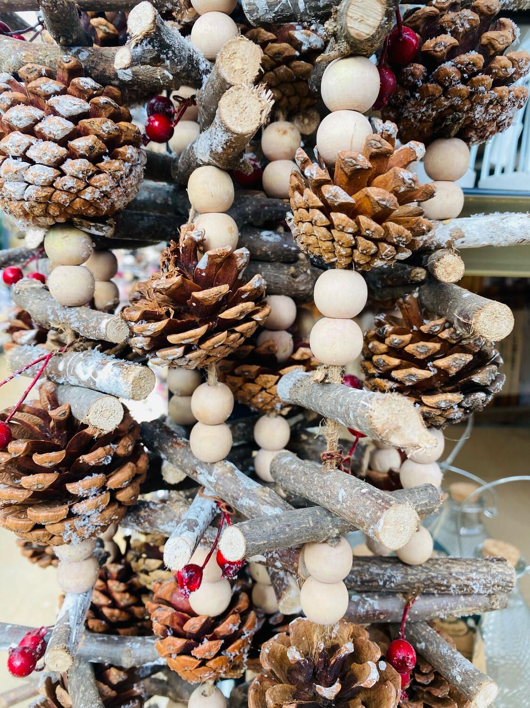 Guirlande rondins plus perles bois 150 cm