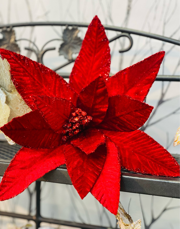 Clip Poinsettia rouge diamètre 30