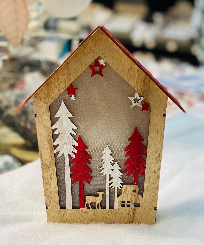 Maison lumineuse bois blanc et rouge H24 cm