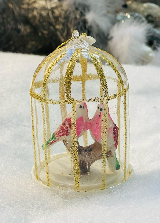 Cage verre à oiseau suspension 6,5 cm
