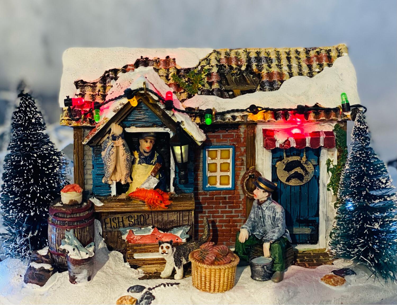 Maison poissonnerie de Noël 12 cm hauteur
