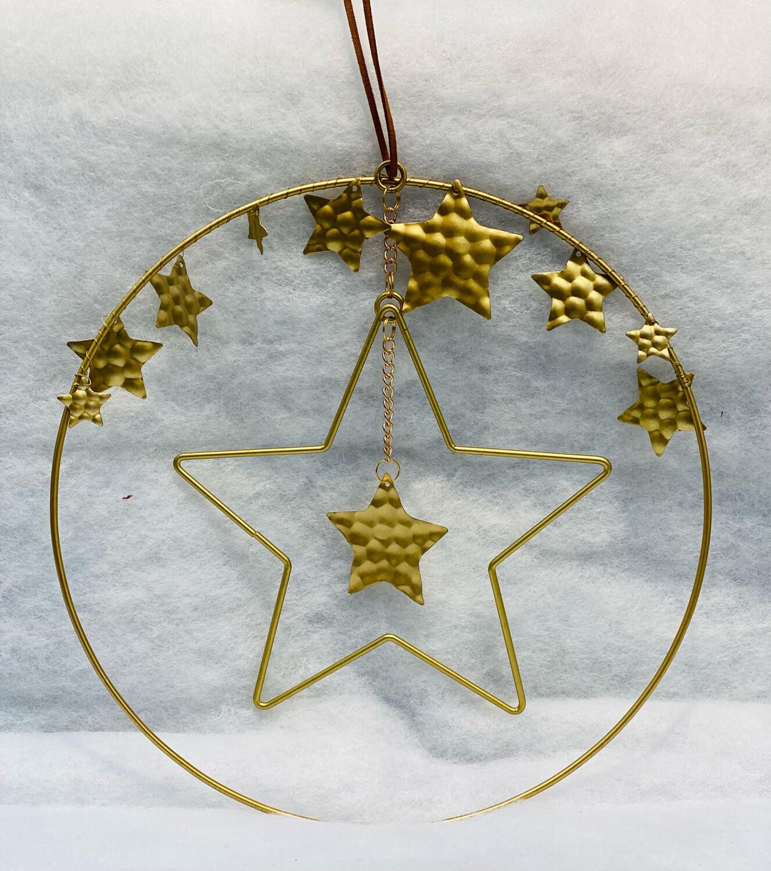 Cercle fer étoile à suspendre or