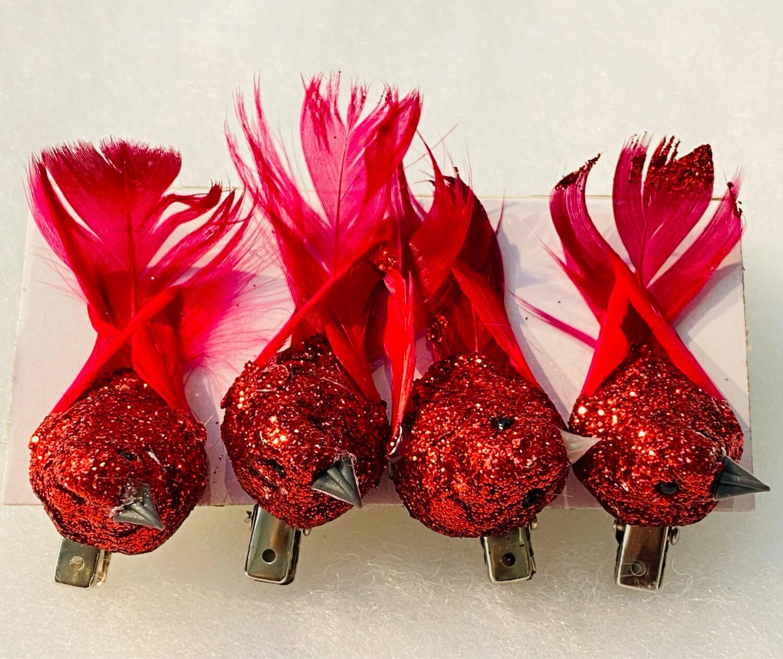 4 oiseaux avec pince paillettes rouge