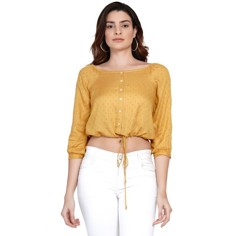 Top in Rayon Swiss Dobby Textured Crop fit