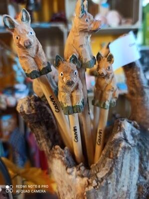 Crayon bois avec têtes d'animal - Couvin