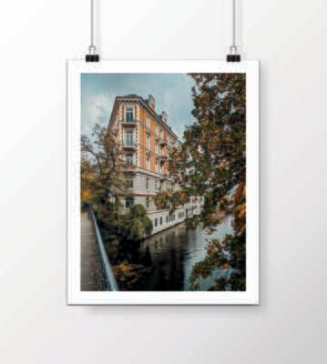 Fine Art Print - Hamburger Eckhaus im Herbst