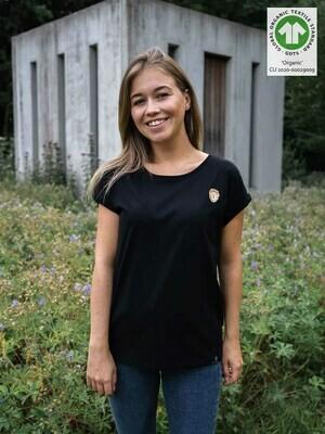 Löwen Print Damen T-Shirt schwarz – 100% Biobaumwolle