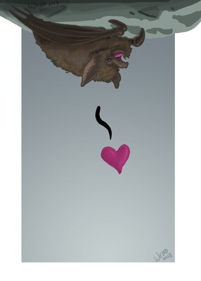 Little Brown Love Bat Print 5x7