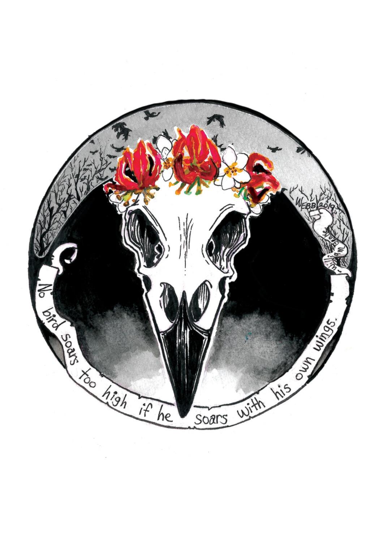 Necro Nouveau Raven Print 5x7