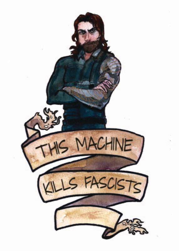 Bucky Kills Fascists Print 5x7