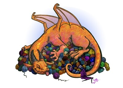 Knitting Yarn Dragon Print 5x7