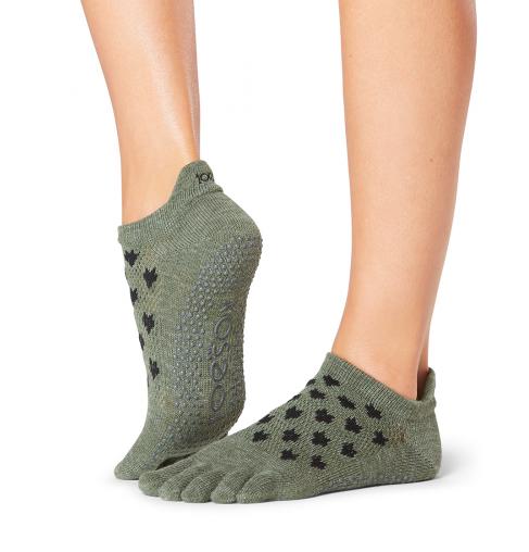 ToeSox Full Toe Low Rise Grip Socks In Mischief