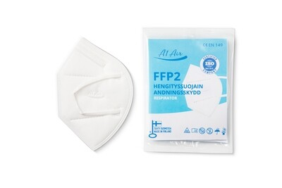 FFP2 -hengityssuojain, valkoinen, FFP2 -andningsskydd, vit, FFP2 -facemask white, 1 kpl/st./pcs.