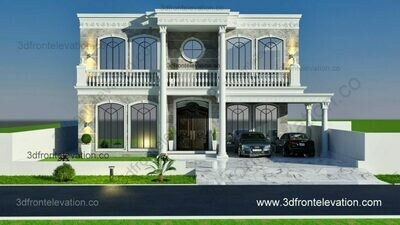 Modern Villa 3D Front Elevation | Classic House Design