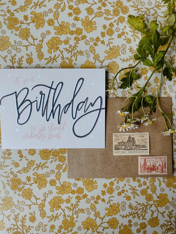 'Birthday Drinks' card