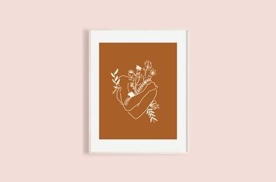 'Self Hug' print - deep orange