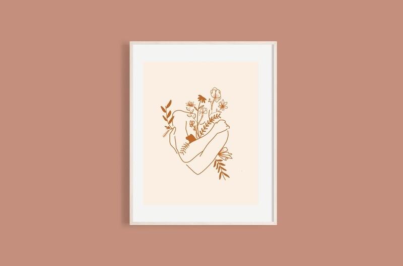 'Self Hug' print - cream