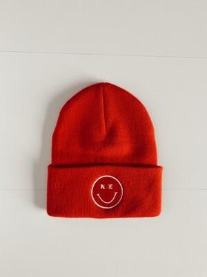 NE Smiley Beanie - Red