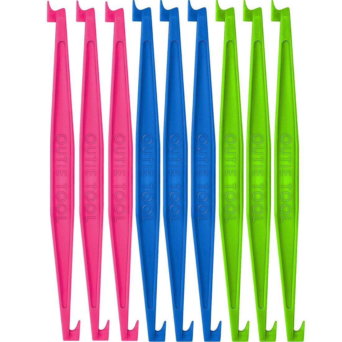 60 OUTIE TOOLS - 20 Hot Pink, 20 Sky Blue, 20 Neon Green  Individually Packaged Singles