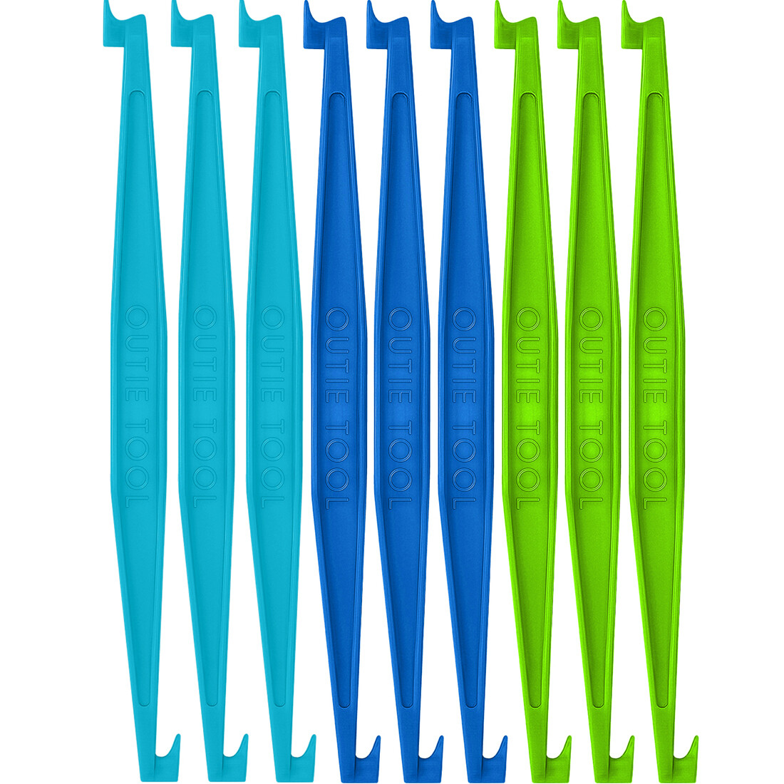 60 OUTIE TOOLS - 20 SKY BLUE, 20 PACIFIC, 20 NEON GREEN Individually Packaged Singles