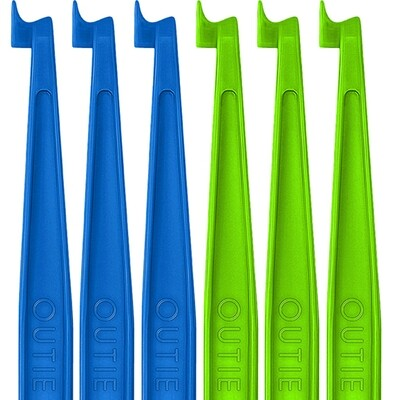 60 OUTIE TOOLS - 30 Neon Green, 30 Sky Blue -  Individually Packaged Singles