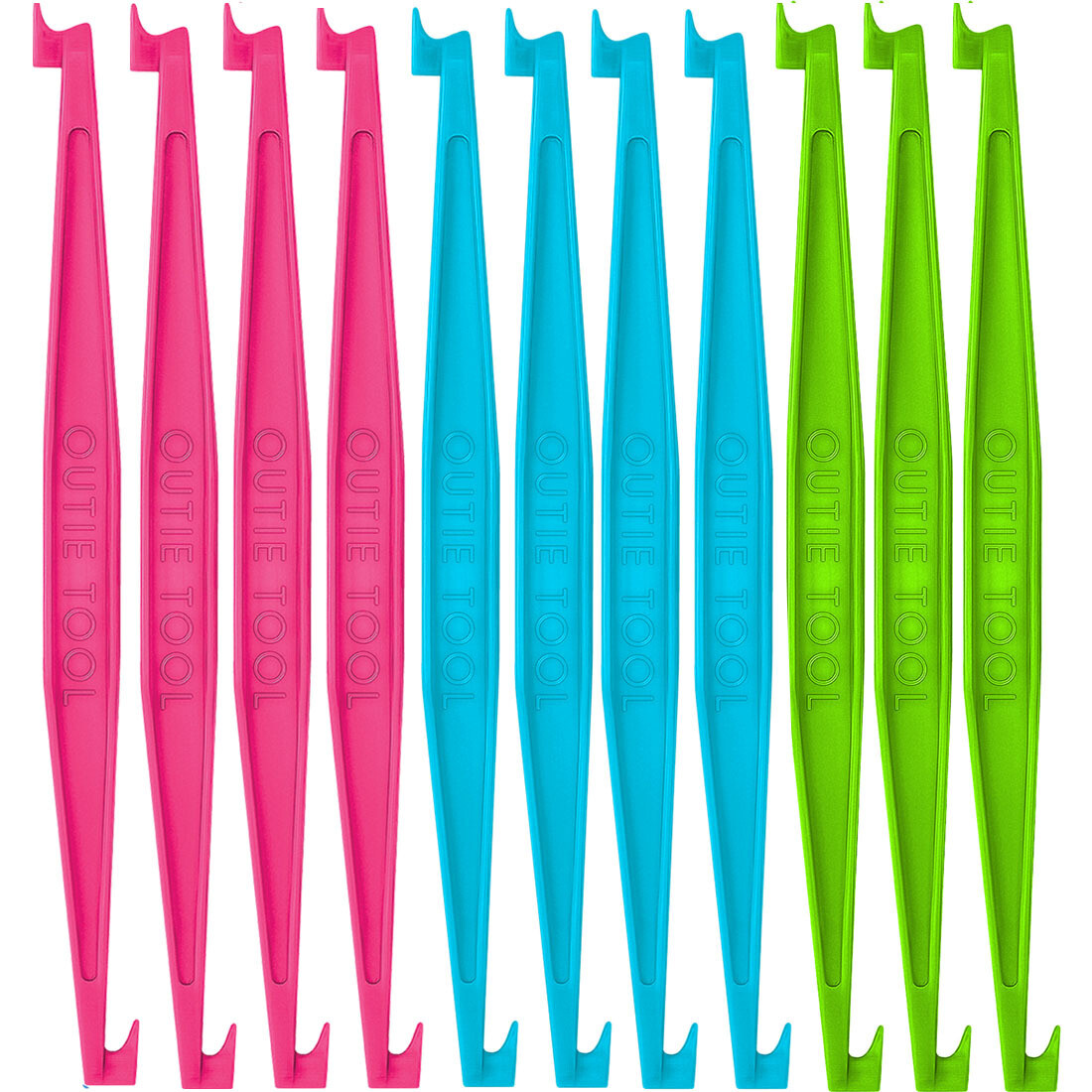 60 BULK UNPACKAGED OUTIE TOOLS - 20 Neon Green, 20 Hot Pink, 20 Pacific