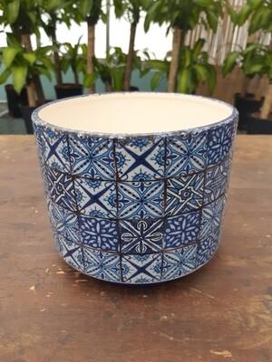 Blue Tile Patterned Pot Cover