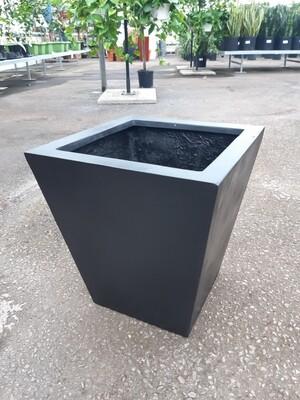 Tapered Square Black Fiberstone Pot