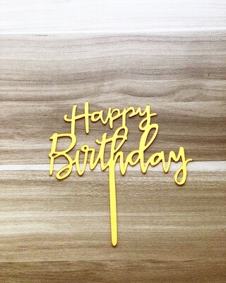 Topper - Happy Birthday (Long-Gold)